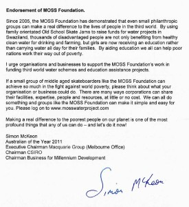 Endorsement of MOSS Foundation signed by Simon McKeon 21-04-2011 (skate)